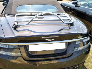 Grey Aston Martin DBS convertible with a revo-rack pa luggage rack fitted