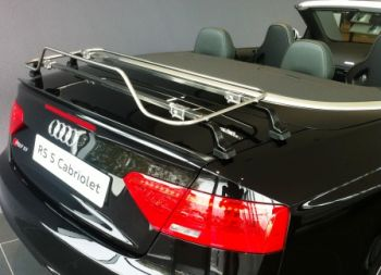 black audi a5 cabriolet with a stainless steel boot rack fitted