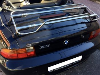 black bmw z3 with a stainless steel luggage rack fitted