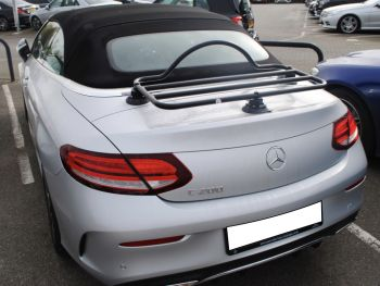 silver mercedes c200 convertible with a revo-rack black luggage rack fitted