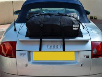 Silver Audi TT Convertible with a boot-bag original luggage rack fitted