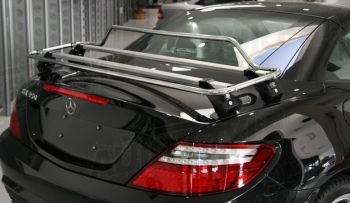 black mercedes benz slk r172 slc with a stainless steel luggage rack fitted photographed from the rear