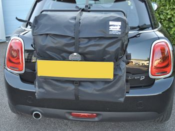 Mini Roof Box alternative hatchbag fitted to black mini cooper d 5 door photographed from the rear