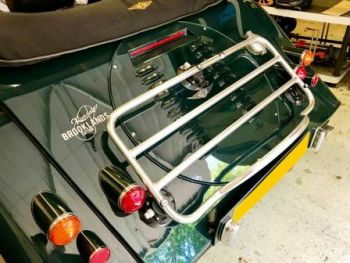 british racing green morgan plus six with revo-rack luggage rack attached