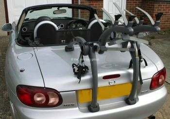 silver mazda mx5 with a bike rack fitted