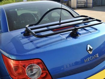 Blue Renault Megane CC Cabriolet with a revo-rack black luggage rack fitted