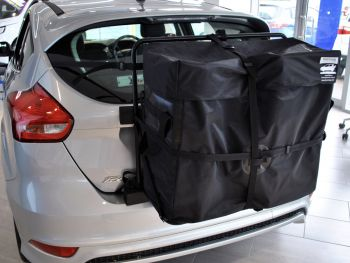 Ford Focus Roof Box alternative hatchbag fitted to a silver ford focus in a ford showroom
