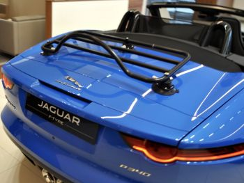 revo rack luggage rack fitted on jaguar f type in blue