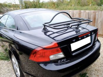 black volvo c70 cc cabriolet with a revo-rack black luggage rack fitted to the trunk